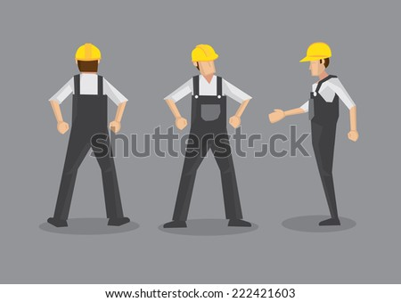 Vector illustration of a tradesman in construction industry. Full body front, profile and back views isolated on grey background. - stock vector