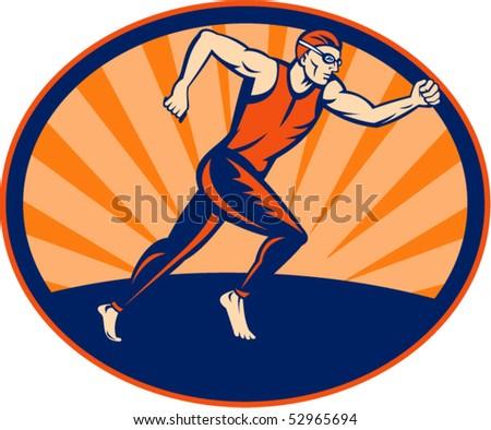 vector illustration of a Triathlon runner running sign set inside an ellipse. - stock vector