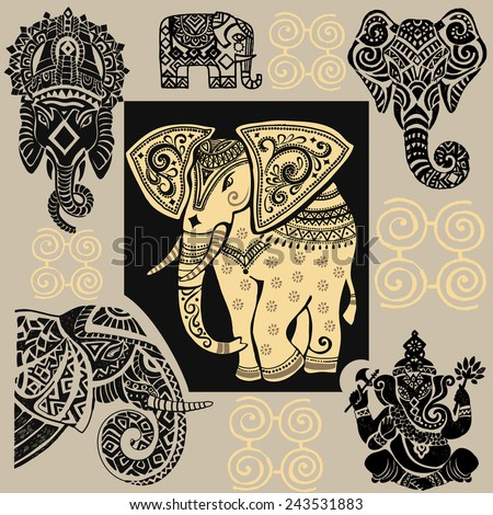 Vector illustration of a tribal totem animal - Elephant - in graphic style.elephant.Silhouette of elephant. - stock vector