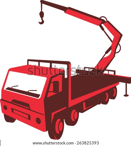 vector illustration of a truck mounted hydraulic crane cartage with hydraulic boom hoist done in retro style viewed from a high angle. - stock vector