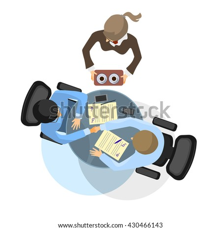 Vector illustration of a two businessmen negotiation - stock vector