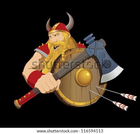 Vector illustration of a viking warrior - stock vector