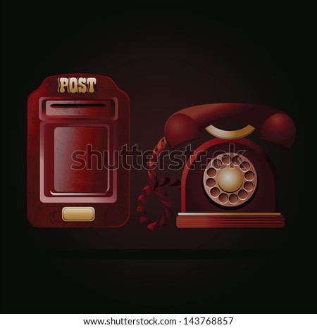 vector illustration of a vintage red postbox and telephone - stock vector