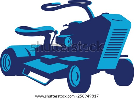 vector illustration of a vintage ride on lawn mower viewed from front on low angle done in retro style. - stock vector