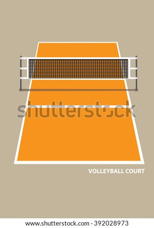 Vector illustration of a volley ball court with net in elevation view from one end isolated on brown plain background.  - stock vector