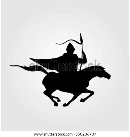 Vector illustration of a warrior on horseback. Bulgarian rider. - stock vector