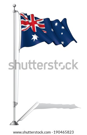 Vector Illustration of a waving Australian flag fasten on a flag pole. Flag and pole in separate layers, line art, shading and color neatly in groups for easy editing.  - stock vector