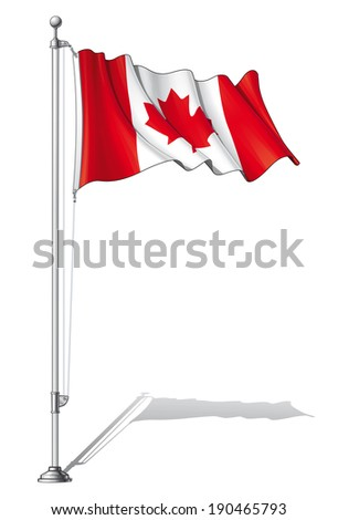 Vector Illustration of a waving Canadian flag fasten on a flag pole. Flag and pole in separate layers, line art, shading and color neatly in groups for easy editing.  - stock vector