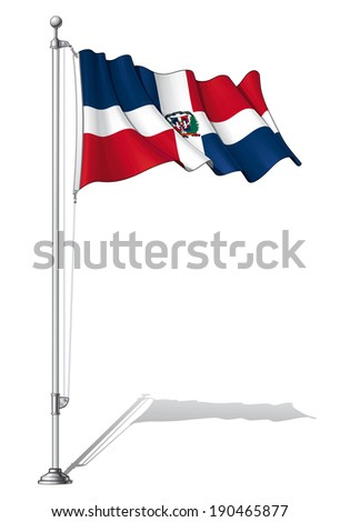 Vector Illustration of a waving Dominican flag fasten on a flag pole. Flag and pole in separate layers, line art, shading and color neatly in groups for easy editing.  - stock vector