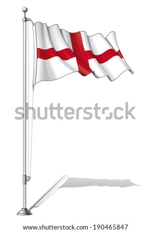 Vector Illustration of a waving English flag fasten on a flag pole. Flag and pole in separate layers, line art, shading and color neatly in groups for easy editing.  - stock vector