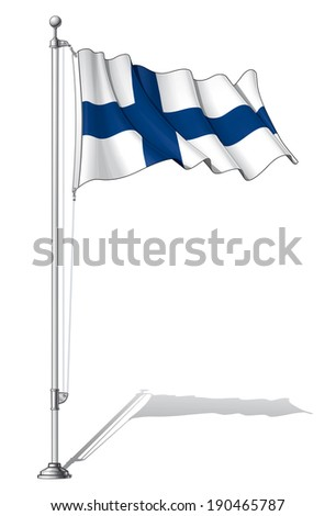 Vector Illustration of a waving Finnish flag fasten on a flag pole. Flag and pole in separate layers, line art, shading and color neatly in groups for easy editing.  - stock vector
