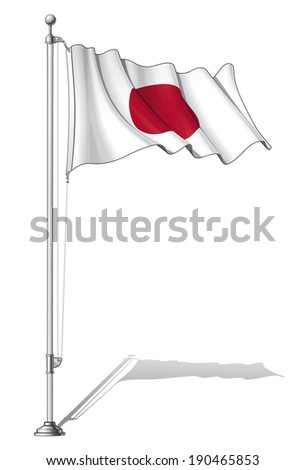 Vector Illustration of a waving Japanese flag fasten on a flag pole. Flag and pole in separate layers, line art, shading and color neatly in groups for easy editing.  - stock vector