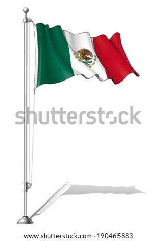 Vector Illustration of a waving Mexican flag fasten on a flag pole. Flag and pole in separate layers, line art, shading and color neatly in groups for easy editing.  - stock vector
