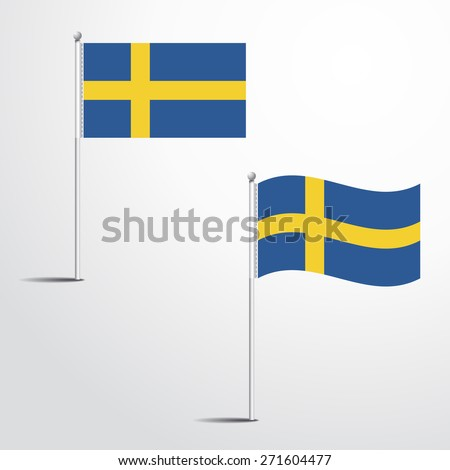 Vector Illustration of a waving Sweden Flag fasten on a flag pole. flag blowing in a breeze. Vector illustration template design - stock vector