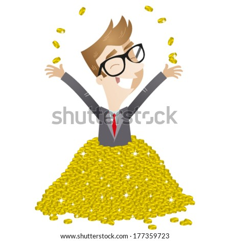 Vector illustration of a wealthy cartoon businessman bathing in a pile of gold coins, smiling and throwing coins up. - stock vector
