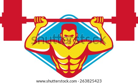vector illustration of a weightlifter body builder lifting weights  facing front set inside diamond shape done retro style. - stock vector