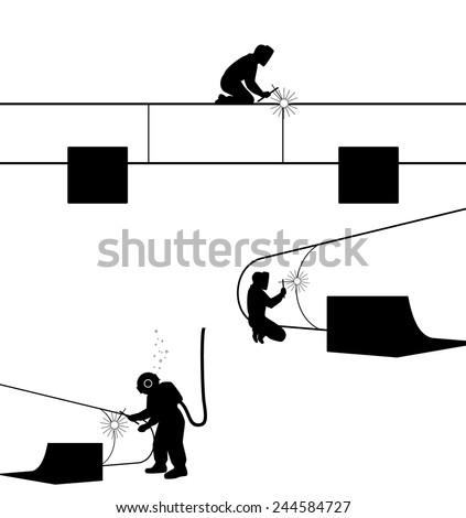 Vector illustration of a welders welding pipe - stock vector