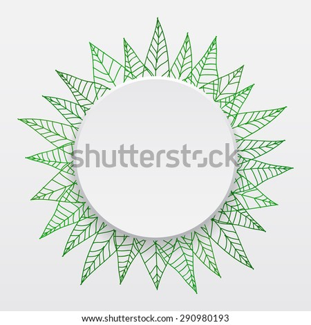 Vector illustration of a white banner with shadow surrounded in frame of hand-drawn linear leaves for your design - stock vector