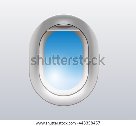 vector illustration of a window from inside the airplane - stock vector