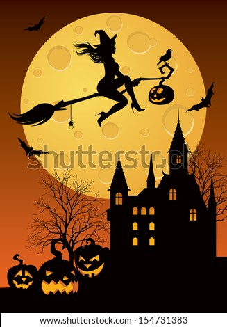 Vector illustration of a witch flying on a broom in Halloween night/ Witch on a broomstick/ Silhouette of a witch flying on a broom in Halloween night - stock vector