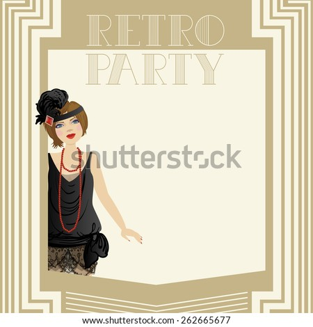 Vector illustration of a woman dressed in retro style - stock vector