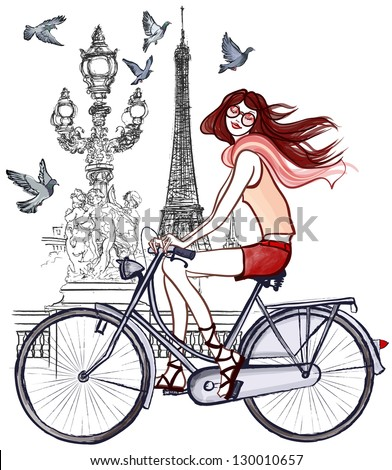 Vector illustration of a woman riding a bicycle  in Paris - stock vector