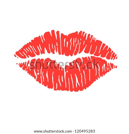 vector illustration of a woman's red lipstick marks, from a kiss - stock vector