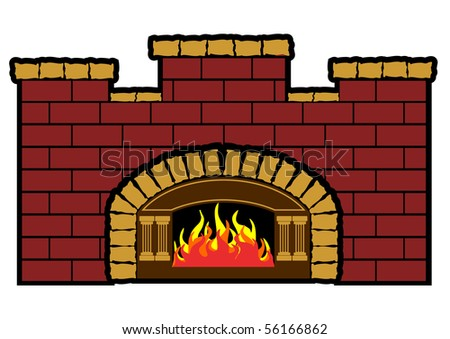 Vector illustration of a wood fired furnace - stock vector