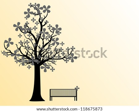 vector illustration of a wooden park bench in a snowy misty winter park in sunny day - stock vector