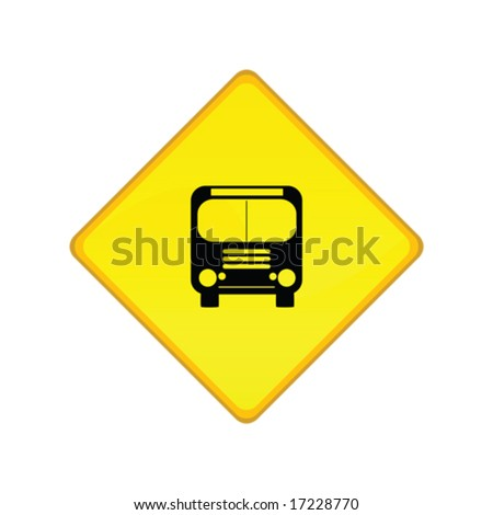 Vector illustration of a yellow road sign for a bus stop. For jpeg version, please see my portfolio, - stock vector