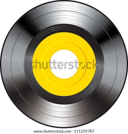 Vector illustration of a yellow vinyl. - stock vector