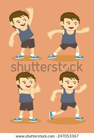 Vector illustration of a young boy in sports attire doing simple warm-up stretching exercises isolated on orange background  - stock vector