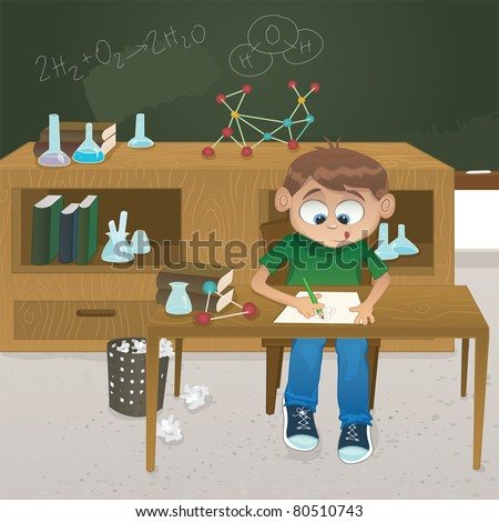 Vector illustration of a young boy  studying chemistry in a classroom full of equipment. - stock vector