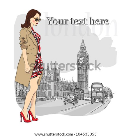 vector illustration of a young fashion girl  in london - stock vector