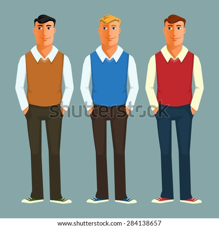 Vector illustration of a young guy in casual clothes. Colorful cartoon illustration. For web and apps - stock vector