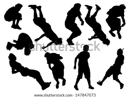 Vector illustration of a young man in a jump. Property release is attached to the file - stock vector