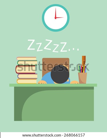 Vector illustration of a young student exhausted from learning and sleeping on his desk - stock vector