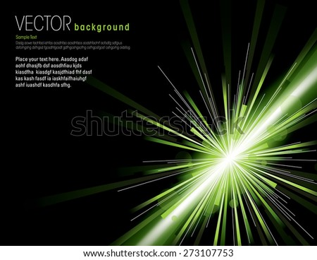 Vector illustration of abstract background with blurred magic neon green light rays - stock vector