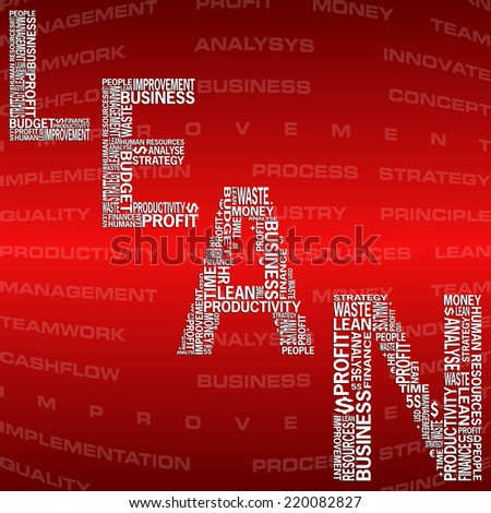 Vector illustration of abstract background with heading Lean. Lean is modern strategy of companies about higher productivity. - stock vector