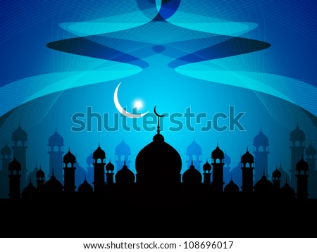 Vector illustration of abstract beautiful religious eid background with mosque. - stock vector