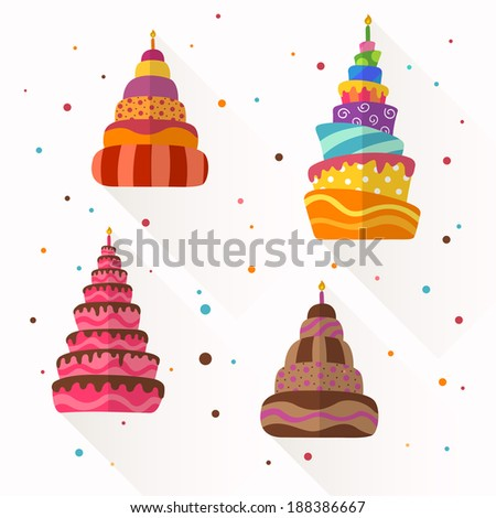Vector Illustration of Abstract Birthday Cakes - stock vector