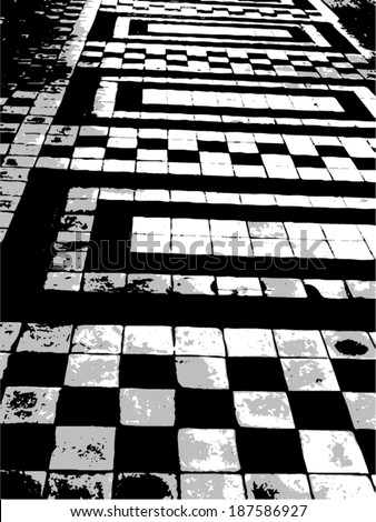 Vector illustration of abstract black and white pattern. Squares, rectangles. - stock vector