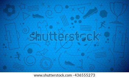 Vector illustration of abstract blue soccer background with different icons and football net pattern for your design - stock vector