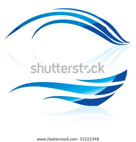 Vector illustration of abstract blue waves on white background #2 - stock vector