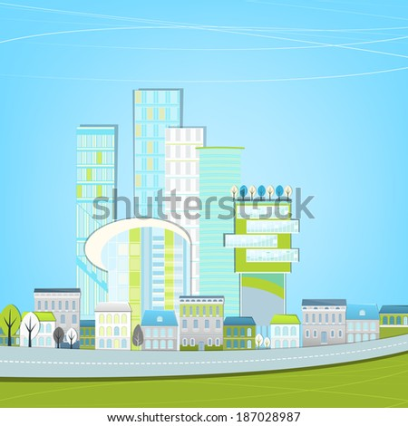 Vector illustration of abstract eco city landscape - stock vector
