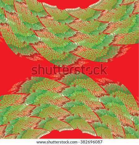Vector illustration of abstract green & red hand drawn graphic pattern / background. Shells, peelings, lines, distressed, distorted, grunge image, doodle waves, mountains, landscape. - stock vector