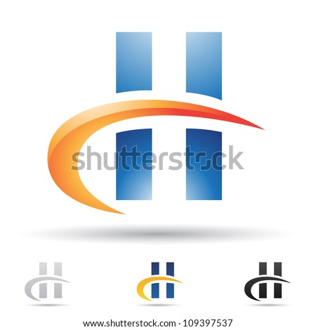 Vector illustration of abstract icons based on the letter H - stock vector