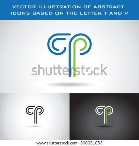 Vector illustration of abstract icons based on the letter T and P - stock vector