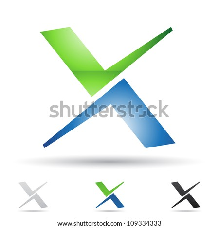 Vector illustration of abstract icons based on the letter X - stock vector