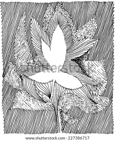 Vector illustration of abstract leaf drawing. Hand drawn with dots, stripes and lines. - stock vector